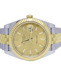 Mens Rolex Datejust II 41MM 126333 Two Tone Champagne Dial Watch