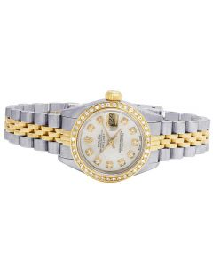 Ladies Rolex Datejust 18K/ Steel Two Tone 26MM Diamond Watch 1.75 Ct
