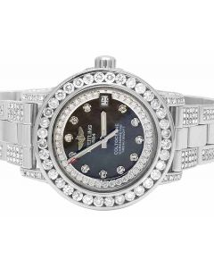 Custom Ladies Breitling Aeromarine Black MOP Colt 33 Diamond Watch (10.5 Ct)