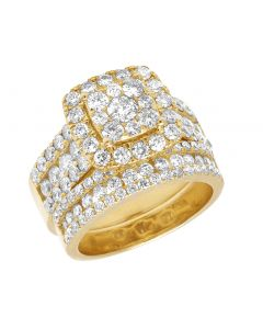 Ladies 14K Yellow Gold 3 CT Diamond Cluster Bridal Ring Set