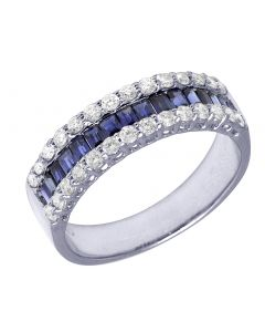 14K White Gold Baguette Sapphire 0.9 CT Diamond 0.52 CT Band