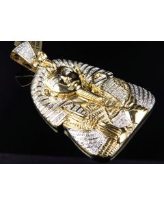 Large Yellow Gold King Tut Pharaoh 2.5 Inch Egyptian Pendant (1.20 Ct)