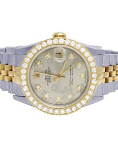 Rolex Datejust 78273 18K/ Steel 31MM Floral Dial Diamond Watch 2.5 Ct
