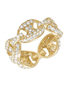 Mens 14K Yellow Gold Eternity Anchor Mariner Link Iced Diamond Ring Band 1.50CT