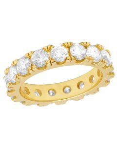 10K Yellow Gold Diamond Solitaire Eternity Wedding Band Ring 6 CT 5MM