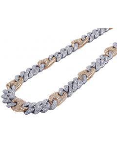 Two Tone Honeycomb Diamond Cuban Gucci Link Chain 12 MM 23.5 CT