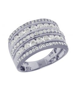 10K White Gold Real Diamond Channel Wedding Band Ring 2.55 CT 15MM
