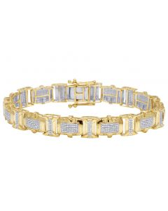 Men's 10K Yellow Gold Diamond 10MM Designer Bracelet 2 CT 8.5""