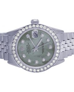 Rolex Datejust 68240 Midsize 31MM Green Dial Diamond Watch 2.5 Ct
