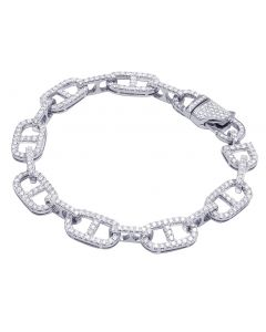 White Gold Hermes Link Diamond Bracelet 10MM 5 CT