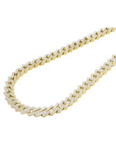 10K Yellow Gold Miami Cuban Prong Set Diamond Necklace 10MM 18-22""
