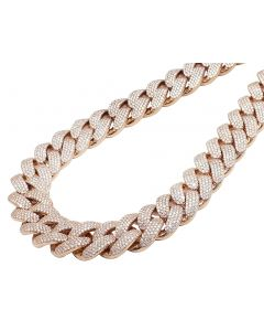 """Men Solid 10K Rose Gold Real Diamond Two Row Prong Miami Cuban 65.6CT 23MM 22"""""""