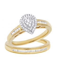 10K Yellow Gold Pear Cluster Diamond 2pc Ring Set .33CT