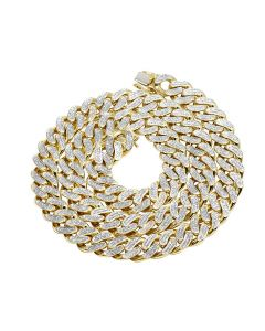 10K Yellow Gold Diamond Cuban Link Choker Chain Necklace 6.4 CT 22""