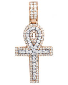 Mens 10K 2 Tone Rose Gold Real Diamond Egyptian Ankh Pendant 2.6 CT 2""