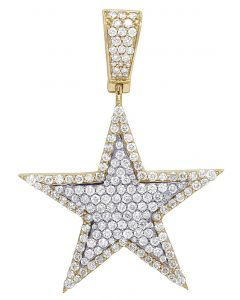 Mens 10K 2 Tone Yellow Gold Real Diamond Super Star Pendant 2.50 CT 2""