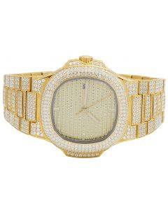 Mens Yellow Steel Iced Out 40MM PP Simulated Diamond Watch