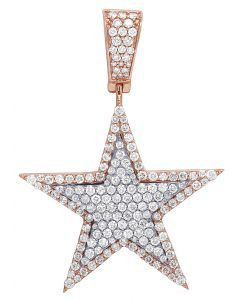 Mens 10K 2 Tone Rose Gold Real Diamond Super Star Pendant 2.50 CT 2""