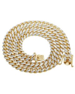 Solid Yellow Gold Diamond Miami Cuban Link Necklace 8.4 CT 26""