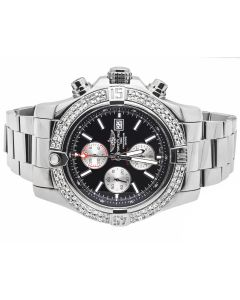 Custom Breitling A1337111 Super Avenger II S.Steel Diamond Watch (4.0 Ct)