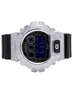 Unisex Casio G Shock Black Glossy 6900 White Diamond Watch 3.0 Ct