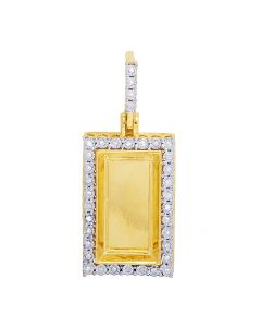10K Yellow Gold Real Diamond Engrave Bar Pendant 0.25 CT 1.4""
