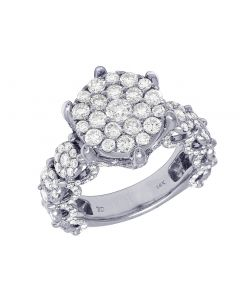 14K White Gold Ladies Flower Cluster Prong Ring 15MM 3.21CT