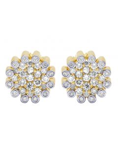 10K Yellow Gold Real Diamond Round Flower Cluster Earrings 9mm 0.6 CT