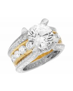14K Two Tone Semi Mount Real Diamond Ladies Engagement Ring 4.90CT