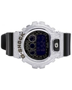 Unisex G Shock Black Glossy 6900 Black & White Diamond Watch 3.0 Ct