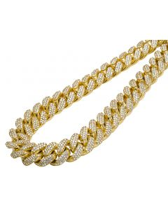 10K Yellow Gold Miami Cuban Choker Big Lock Diamond Necklace Chain 18mm 24""
