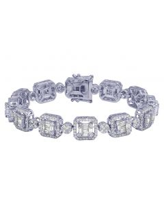 "14K White Gold Real Diamond Halo Rectangle Baguette Flower Cluster Bracelet 11MM 8.25"" 10.05 CT"