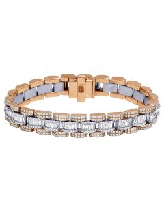 14k Two Tone Presidential Style Baguette Diamond Bracelet 13MM 16.55 Ct 8.75""