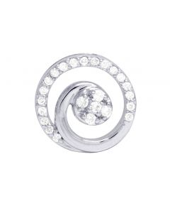 Ladies 10K White Gold Diamond Round Designer Pendant 0.12 Ct 11MM