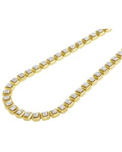 Yellow Gold 8MM Halo Baguette Diamond Necklace 6.5 CT 22""