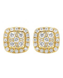 14K Yellow Gold Real Diamond Square Halo Cluster Earrings 11mm 1.10 CT