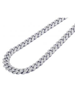 White Gold Pave Diamond Honeycomb Two Row Cuban Necklace 10MM 18-24""
