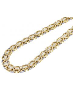 10K Two Tone Gold Baguette Diamond Byzantine Chain 18.75CT 12MM 20""