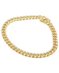 10K Yellow Gold Semi Hollow Miami Cuban Box Clasp Bracelet 7.5MM 8-9 Inches