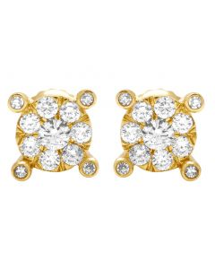 14K Yellow Gold Real Diamond Round Claw Earrings 8mm 0.49 CT