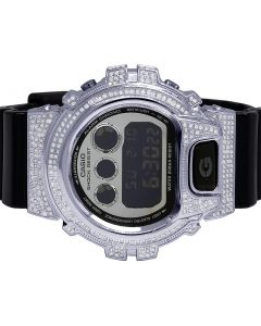 Casio G Shock Black Glossy 6900 White Diamond Watch 3.0 Ct