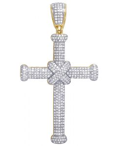 "Mens 10K Yellow Gold Pave Real Diamond Cross Pendant 2.2"" 1.5CT"