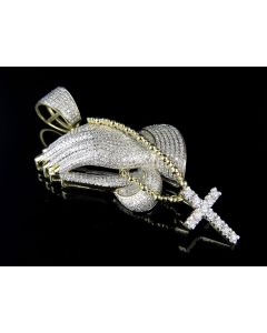 10K Solid Yellow Gold Praying Hand Rosary Beads Real Diamond Pendant 3.55ct
