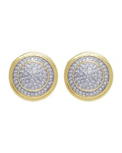 Yellow Gold Two Tier Pave Cluster Stud Earrings 0.25 CT