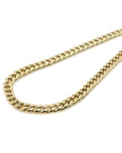 10K Yellow Gold Semi Solid Miami Cuban Link 10.5 MM Chain Necklace 28-36 Inches