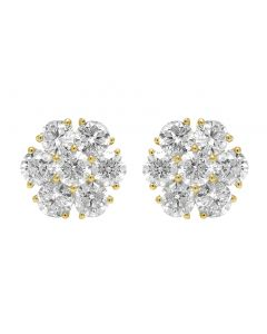 14K Yellow Gold 5.75CT Diamond Flower Cluster Earrings 13MM