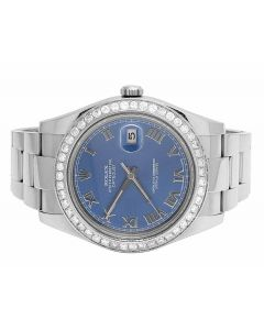 Rolex Datejust II 116300 Blue Factory Roman Dial Diamond Watch (3.85 Ct)
