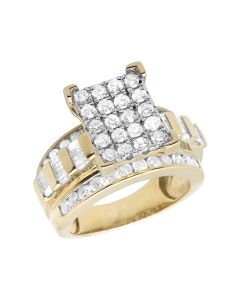 10K Yellow Gold Baguette Real Diamond Cinderella Engagement Ring 2.0ct