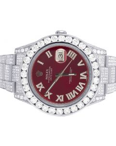 Rolex Datejust II 116300 41MM Red Dial Diamond Watch 21.5 Ct