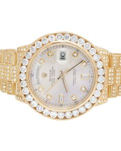 Rolex 18K Everose Gold Day-Date President 118205 Diamond Watch 14.0 Ct